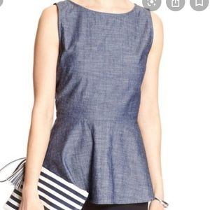 Banana Republic Sleeveless Chambray Peplum Tank